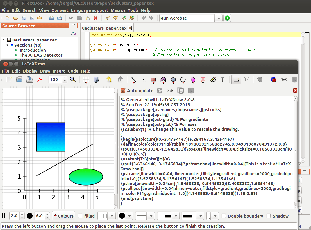 RTextDoc with LaTexDraw tool